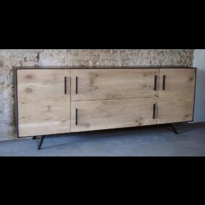 Credenza D001 | Kommode, Altholz Eiche kombiniert mit Stahl