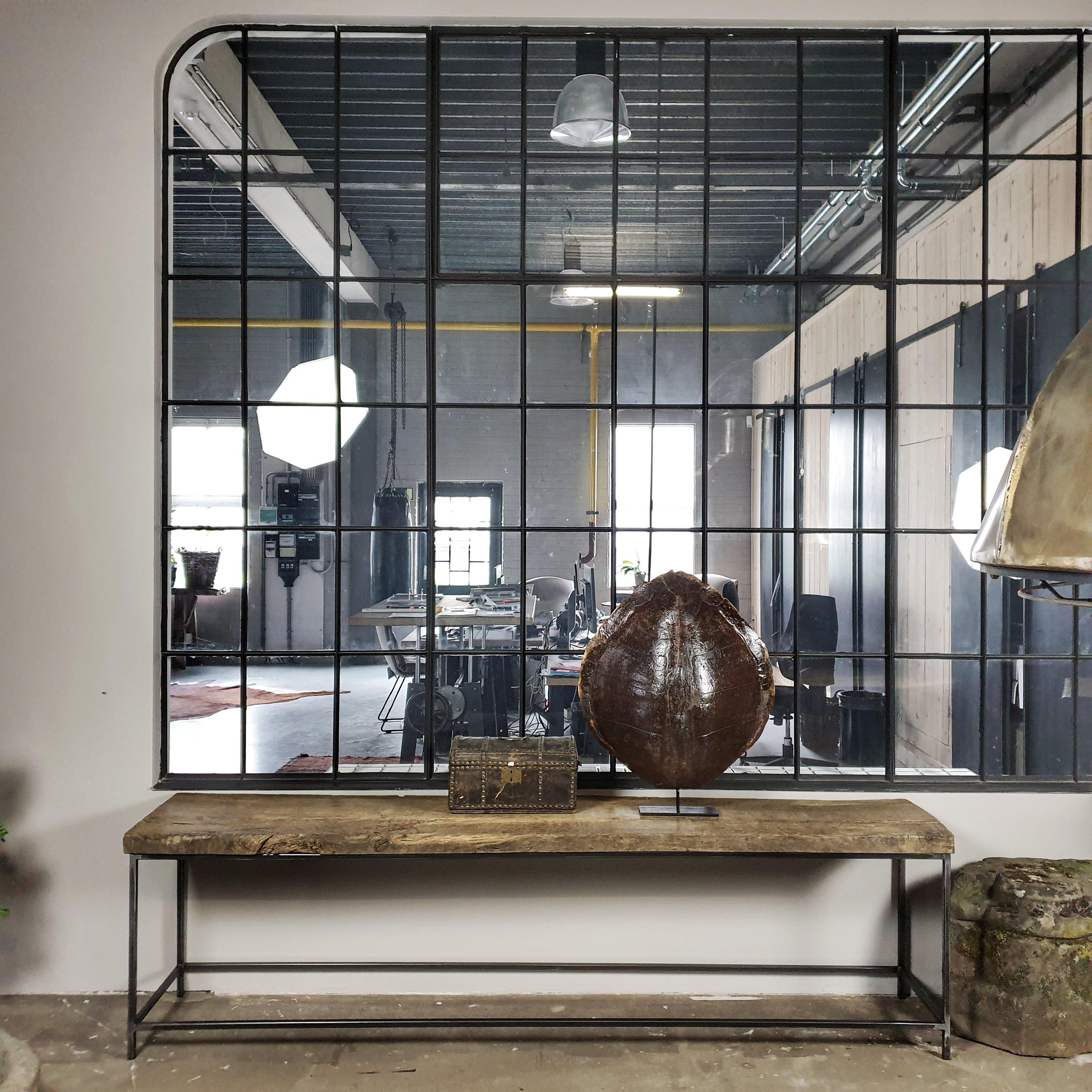 Vintage Wandtisch Industrie Design mit Altholz Eiche Tischplatte und Stahlrahmen Tischgestell - IND710