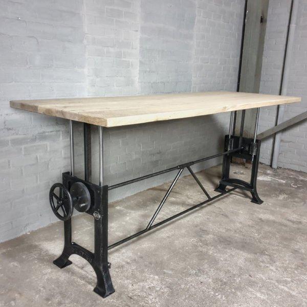 Höhenverstellbare vintage Tisch - Altholz Eiche Gebleicht Tischeplatte - IND711