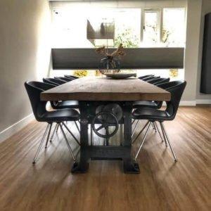 Industrielle Esstisch höhenverstellbar - 7 cm massive alte Eiche Tischplatte