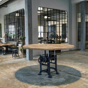 Runder, höhenverstellbarer Industrie Design Tisch, Altholz Eichen Tischplatte 5 cm dick