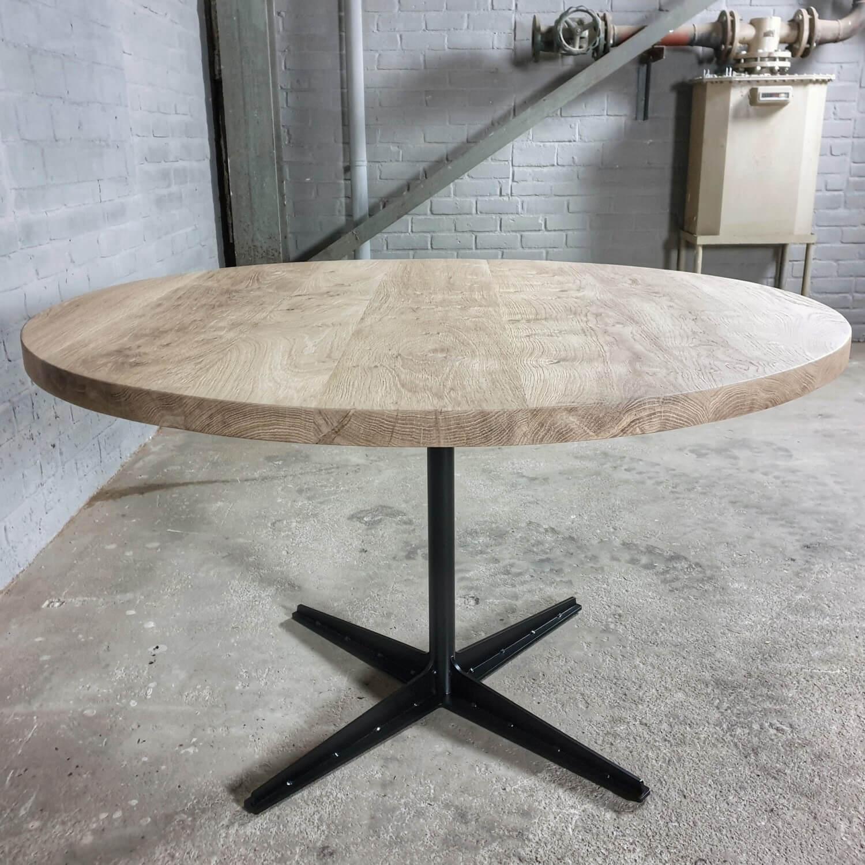 Runder Industrie Design Tisch, Rustikal Eiche 4cm, moderne